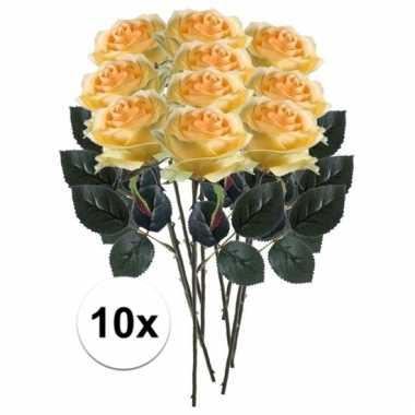 Afgeprijsde 10 x gele roos simone 45 cm kunstplant steelbloem