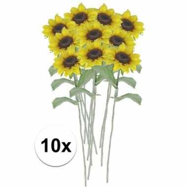 Afgeprijsde 10 x gele zonnebloem 38 cm kunstplant steelbloem