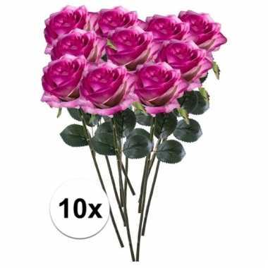 Afgeprijsde 10 x paars/roze roos simone 45 cm kunstplant steelbloem
