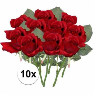 Afgeprijsde 10 x rode roos 30 cm kunstplant steelbloem