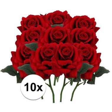 Afgeprijsde 10 x rode roos deluxe 31 cm kunstplant steelbloem