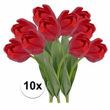 Afgeprijsde 10 x rode tulp 48 cm kunstplant steelbloem