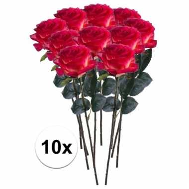 Afgeprijsde 10 x rood/gele roos simone 45 cm kunstplant steelbloem