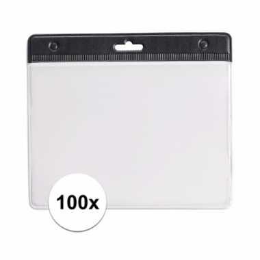 Afgeprijsde 100 badgehouders voor aan een keycord zwart 11,2 x 58 cm