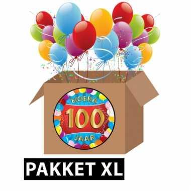 Afgeprijsde 100 jaar party artikelen pakket xl