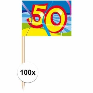 Afgeprijsde 100 stuks feest prikkertjes 50 jaar