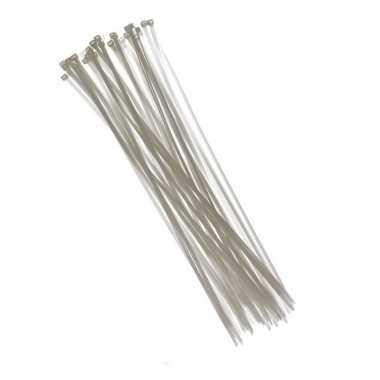 Afgeprijsde 100x kabelbinders tie-wraps wit 3,6 x 200 mm