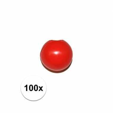 Afgeprijsde 100x rode clowns knijpneus voor clown