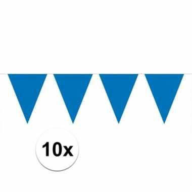 Afgeprijsde 10x blauwe vlaggenlijnen 10 meter