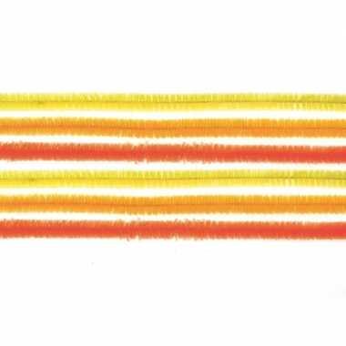 Afgeprijsde 10x chenilledraad mix geel/oranje 50 cm