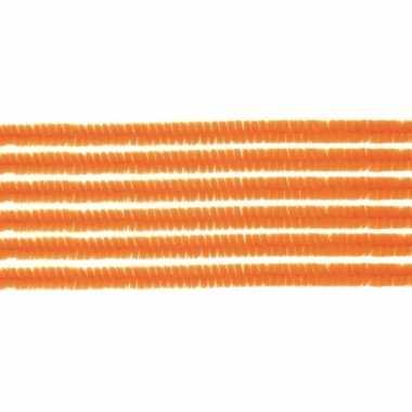Afgeprijsde 10x chenilledraad oranje 50 cm