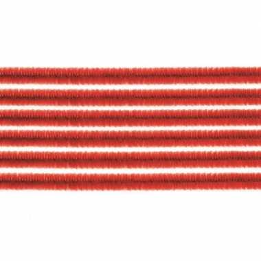 Afgeprijsde 10x chenilledraad rood 50 cm
