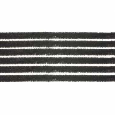Afgeprijsde 10x chenilledraad zwart 50 cm