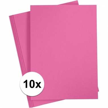 Afgeprijsde 10x fuchsia roze knutsel karton a4