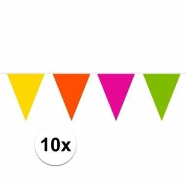 Afgeprijsde 10x gekleurde slinger 10 meter