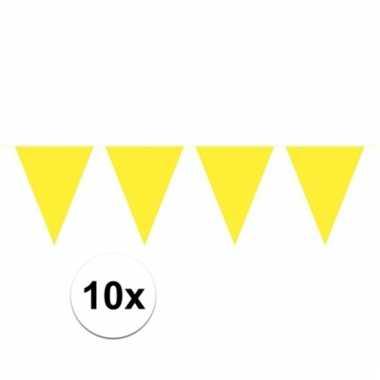 Afgeprijsde 10x gele vlaggenlijnen 10 meter