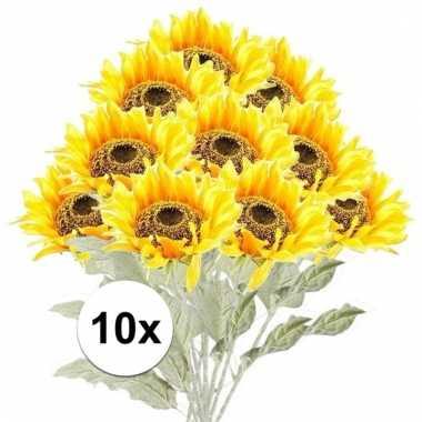 Afgeprijsde 10x gele zonnebloem 82 cm kunstplant steelbloem