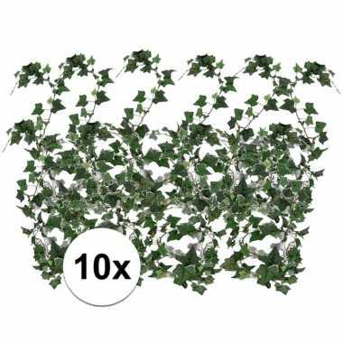 Afgeprijsde 10x groene klimop slinger 180 cm kunstplant
