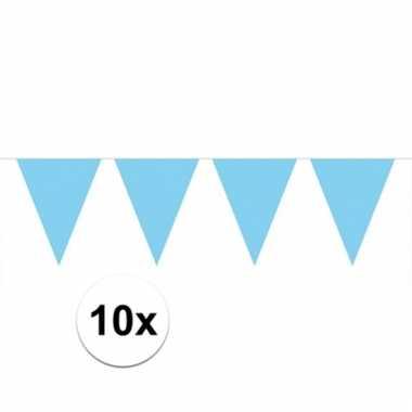 Afgeprijsde 10x lichtblauwe vlaggenlijnen 10 meter
