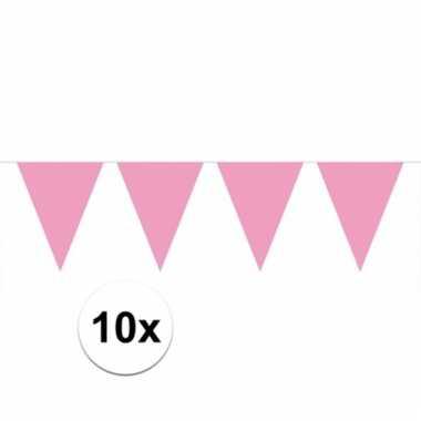 Afgeprijsde 10x lichtroze vlaggenlijnen 10 meter