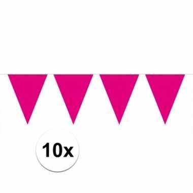 Afgeprijsde 10x magenta roze vlaggenlijnen 10 meter