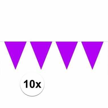 Afgeprijsde 10x paarse vlaggenlijnen 10 meter