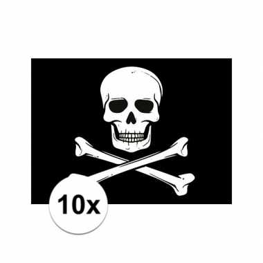 Afgeprijsde 10x piraten thema stickers 7.5 x 10 cm