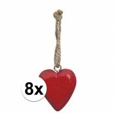 Afgeprijsde 10x rode hart hanger 5 cm