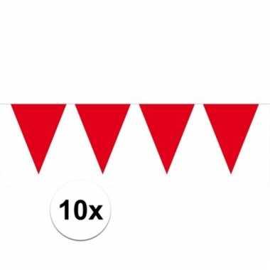 Afgeprijsde 10x rode vlaggenlijnen 10 meter