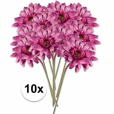 Afgeprijsde 10x roze gerbera 47 cm kunstplant steelbloem