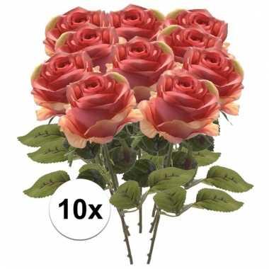 Afgeprijsde 10x roze roos 45 cm kunstplant steelbloem