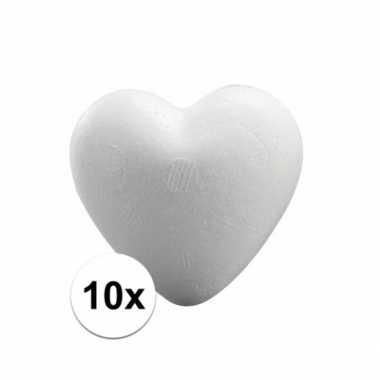 Afgeprijsde 10x styrofoam hartjes van 5 cm