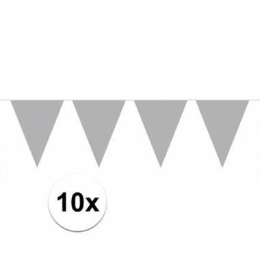 Afgeprijsde 10x zilveren vlaggenlijnen 10 meter