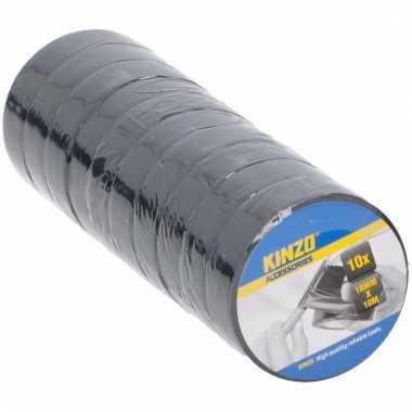 Afgeprijsde 10x zwart isolatie tape 18 mm x 10 meter