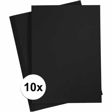 Afgeprijsde 10x zwart knutsel karton a4
