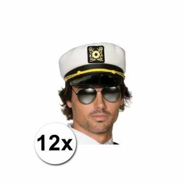Afgeprijsde 12 kapiteinspetjes wit voor volwassenen