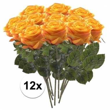 Afgeprijsde 12 x geel/oranje roos simone 45 cm kunstplant steelbloem