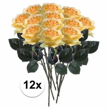 Afgeprijsde 12 x gele roos simone 45 cm kunstplant steelbloem