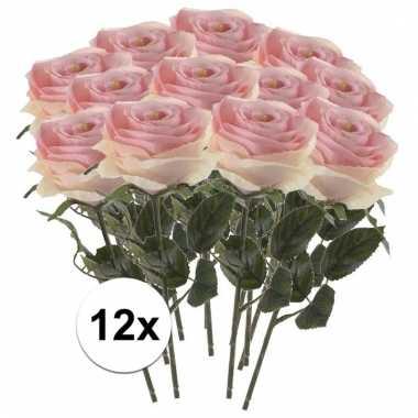 Afgeprijsde 12 x licht roze roos simone 45 cm kunstplant steelbloem