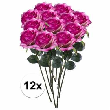 Afgeprijsde 12 x paars roze roos simone 45 cm kunstplant steelbloem