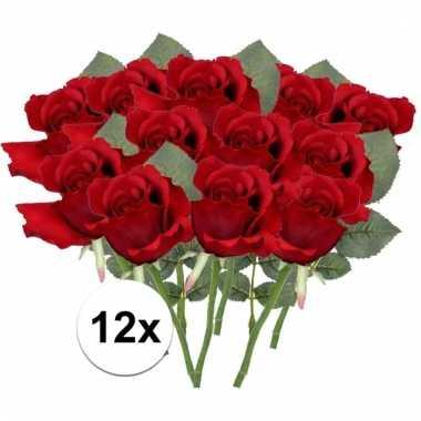 Afgeprijsde 12 x rode roos 30 cm kunstplant steelbloem