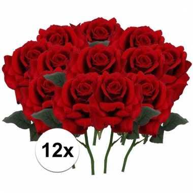 Afgeprijsde 12 x rode roos deluxe 31 cm kunstplant steelbloem