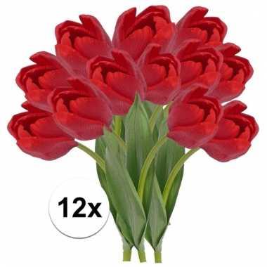 Afgeprijsde 12 x rode tulp 48 cm kunstplant steelbloem
