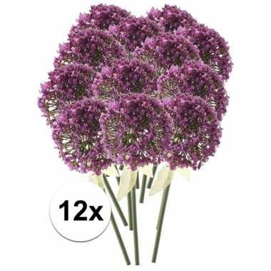 Afgeprijsde 12 x roze/paarse sierui 70 cm kunstplant steelbloem