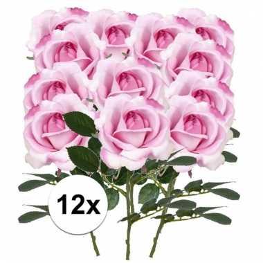 Afgeprijsde 12 x roze roos carol 37 cm kunstplant steelbloem