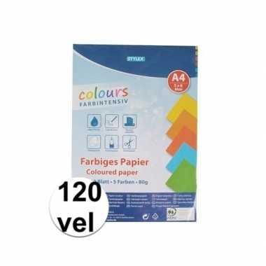 Afgeprijsde 120 velletjes hobby papier gekleurd a4