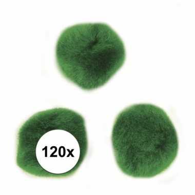 Afgeprijsde 120x groen decoratieve pompons 15 mm