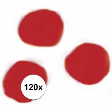 Afgeprijsde 120x rode decoratieve pompons 15 mm