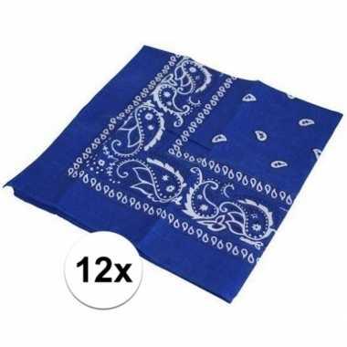 Afgeprijsde 12x blauwe bandana zakdoek