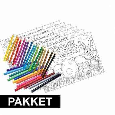 Afgeprijsde 12x pasen placemats met stiften en kleurpotloden